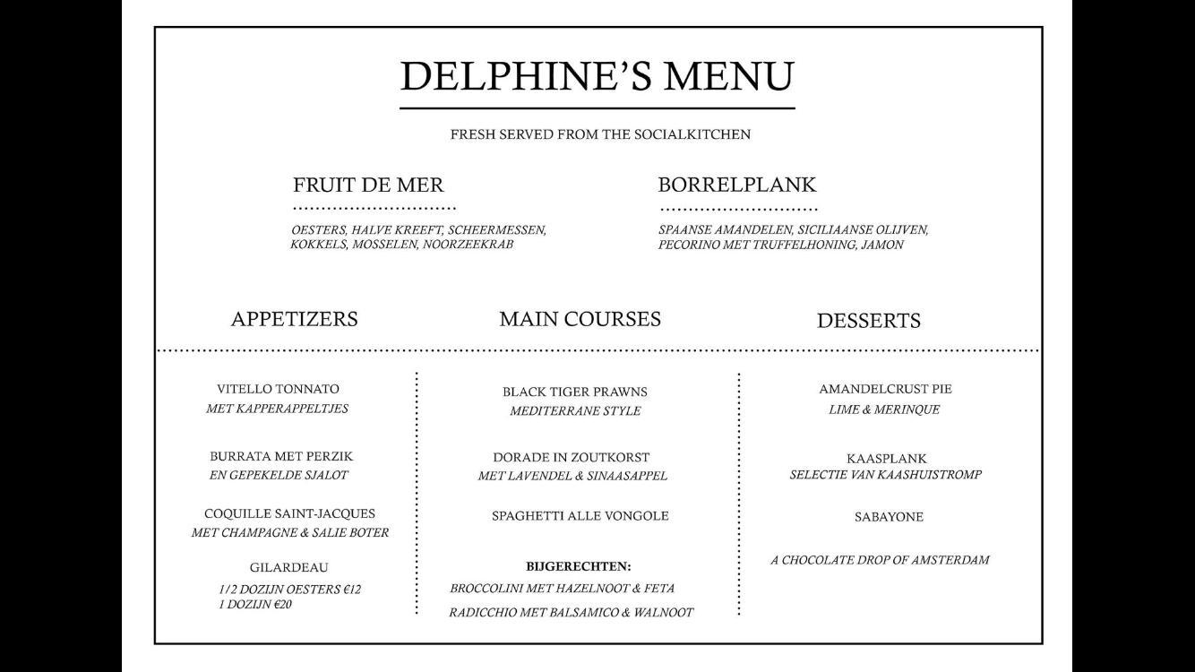 Salonboot Delphine menu